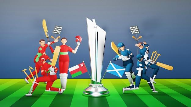 Jogadores participantes da equipe de críquete de omã vs escócia com prêmio de troféu de prata e equipamento de torneio em estilo 3d.