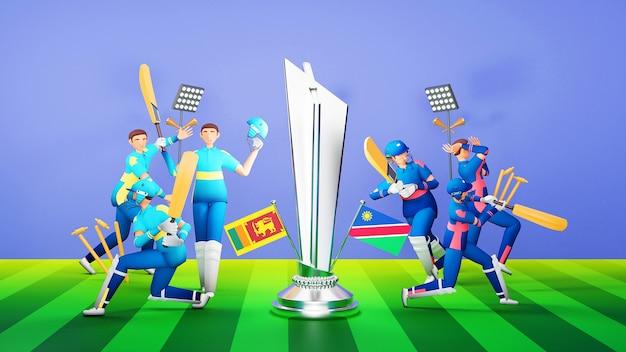 Jogadores participantes da equipe de críquete do sri lanka vs namíbia com prêmio de troféu de prata e equipamento de torneio em estilo 3d.