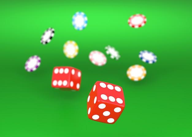 Jogando dados vermelhos em uma mesa de cassino com fichas