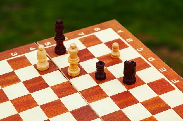 Jogando xadrez em uma placa na praia. férias na costa.