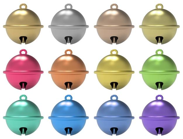 Jogo da coleção dos sinos de tinir da esfera isolado no fundo branco.