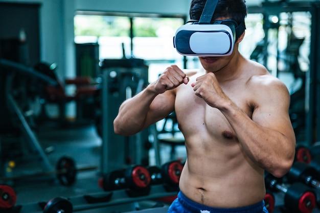 Jogo de boxe em realidade virtual de 360 graus. jogo futurista.
