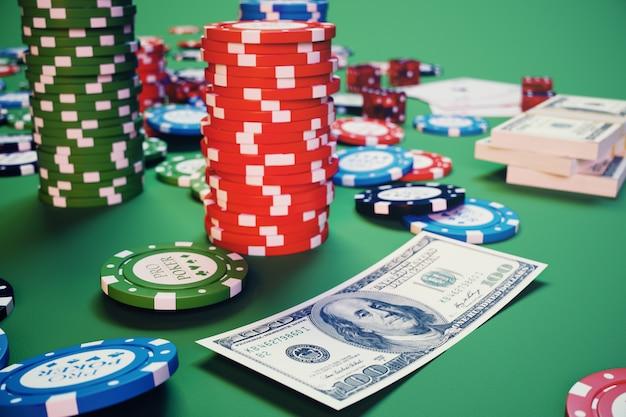 Jogo de cassino de ilustração 3d. fichas, jogando cartas para poker. fichas de pôquer, dados vermelhos e dinheiro na mesa verde. conceito de casino online.