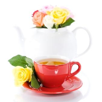 Jogo de chá com rosas