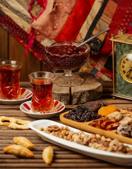 Jogo de chá para duas pessoas com seleção de doces, confitures e frutas secas
