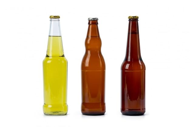 Jogo, de, garrafas cerveja, isolado