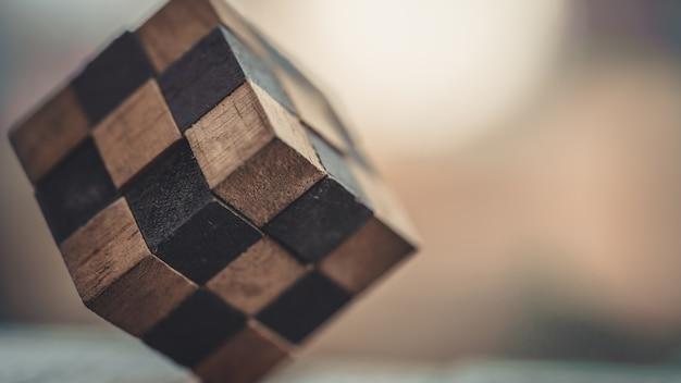 Jogo de puzzle de cubo de madeira