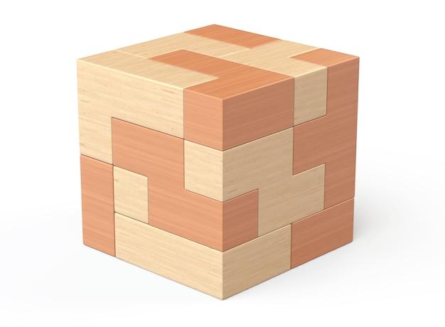 Jogo de quebra-cabeças de cubo de madeira em um fundo branco