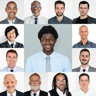 Jogo, de, retratos, de, homens negócios