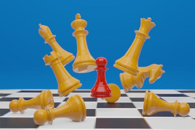 Jogo de tabuleiro de xadrez, conceito competitivo de negócios