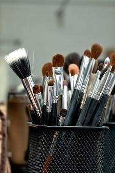 Jogo, de, um, cosméticos, escovas