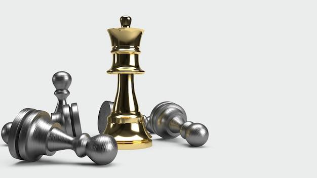 Jogo de xadrez 3d render idéia abstrata para conteúdo de negócios.