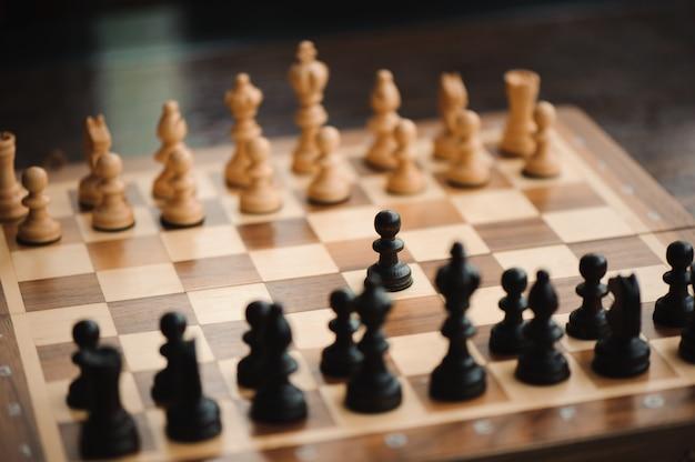 Jogo de xadrez, cavaleiro, xadrez a bordo do conceito de negócio