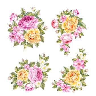 Jogo do vintage da guirlanda de rosas.