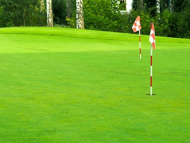 Jogo, entretenimento, esporte e lazer, close-up da marca de bandeira no buraco no campo de golfe