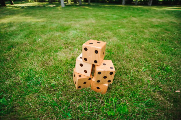 Jogos ao ar livre, grandes dadinhos, jogo ao ar livre gigante na grama verde