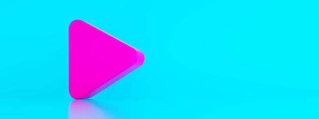 Jogue o símbolo sobre o fundo azul, elemento de logotipo de música e vídeo, renderização em 3d, imagem panorâmica