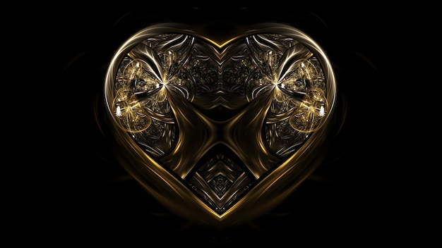 Joia com coração de ouro, coração de dia dos namorados. cartaz de maquete com coração renderização em 3d, espaço de cópia