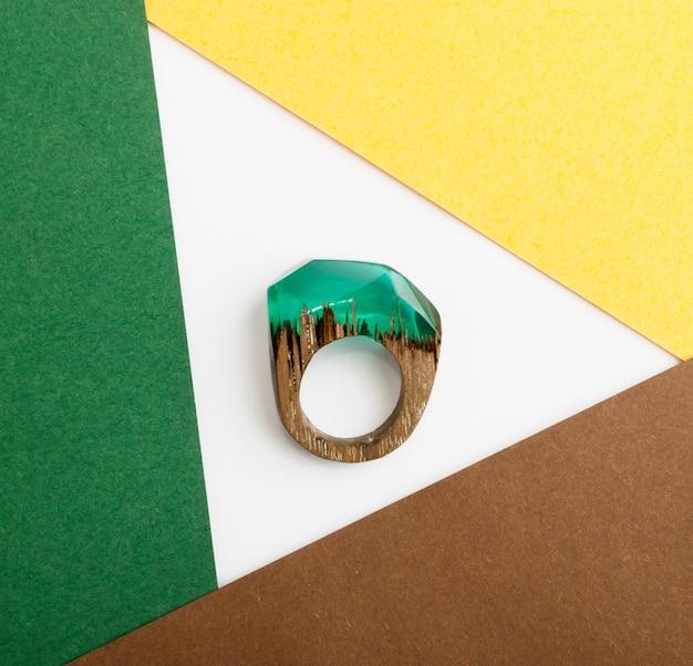 Jóias em resina epóxi verde anel