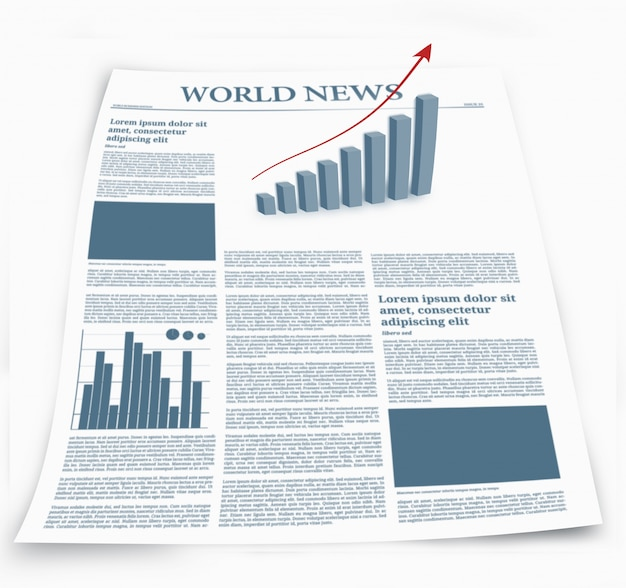 Jornal de negócios chamado notícias do mundo com gráficos