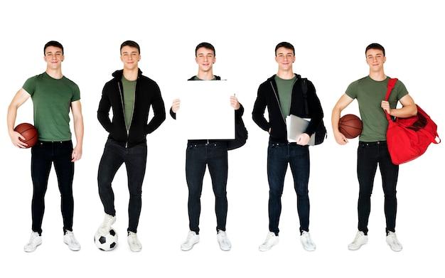 Jovem, adulto, homem, desporto, jogador, estúdio, retrato, isolado