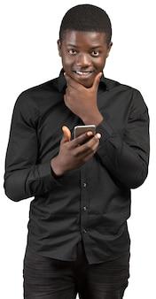Jovem, africano, homem, com, telefone pilha
