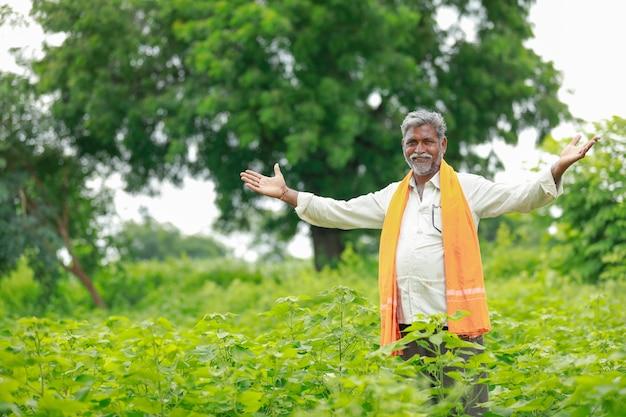 Jovem agricultor indiano no campo de algodão, índia