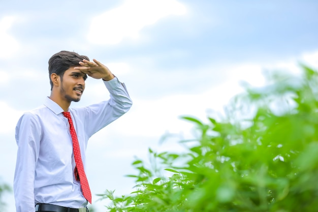 Jovem agrônomo indiano em pé no campo