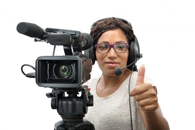 Jovem, americano africano, mulheres, com, profissional, câmera video