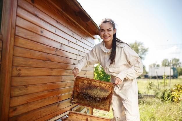 Jovem apicultor feminino retira da colméia uma moldura de madeira com favo de mel.