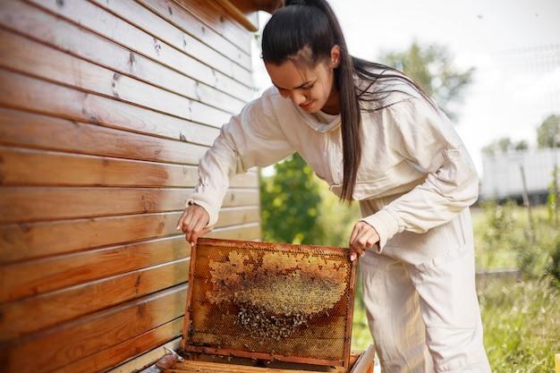Jovem apicultor feminino retira da colméia uma moldura de madeira com favo de mel