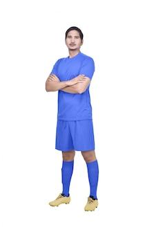 Jovem, asiático, jogador futebol, com, jersey azul, ficar