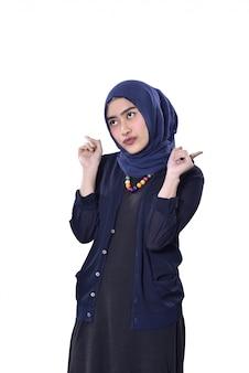 Jovem, asiático, muçulmano, mulher, com, cute, expressão