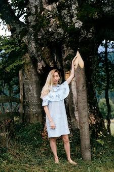 Jovem atraente loira descalça em um vestido azul romântico posando com uma estaca perto de uma árvore velha
