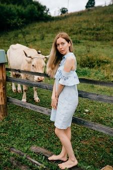 Jovem atraente loira elegante em um vestido azul romântico posando com uma vaca no campo
