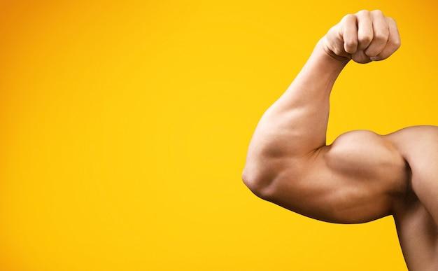 Jovem atraente mostrando músculos fortes no braço