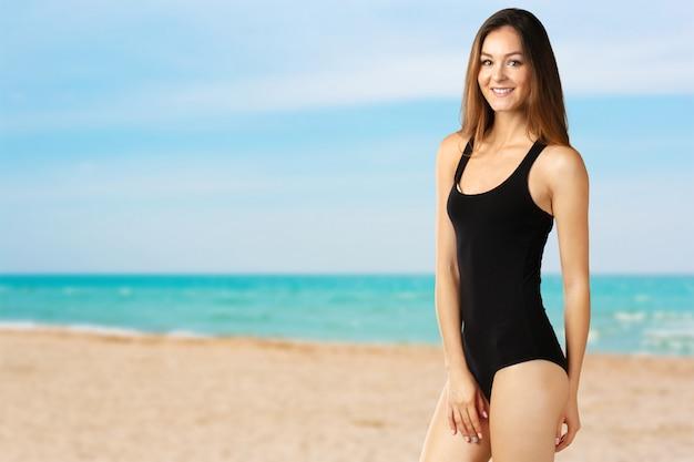 Jovem, atraente, mulher, swimsuit