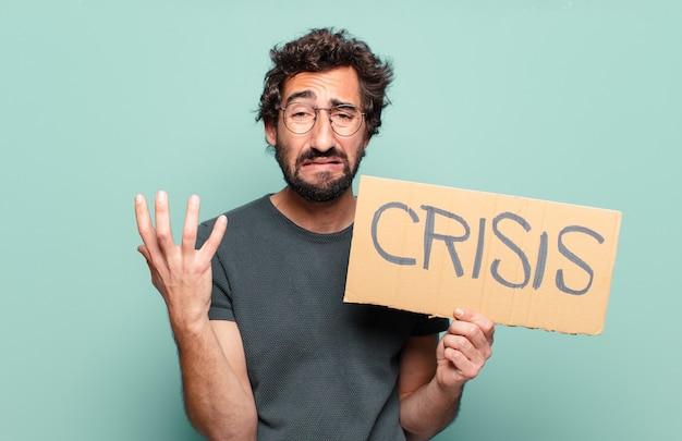 Jovem barbudo. conceito de crise