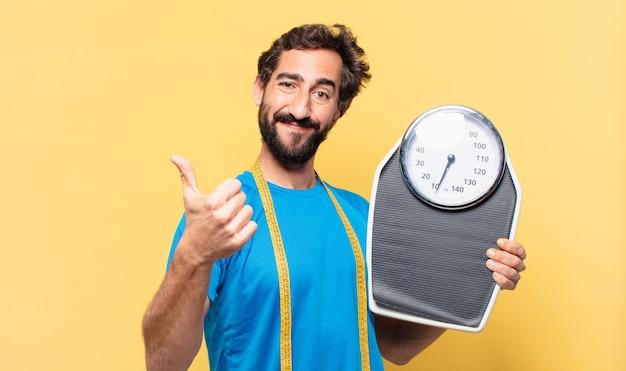 Jovem barbudo esporte homem fitness conceito