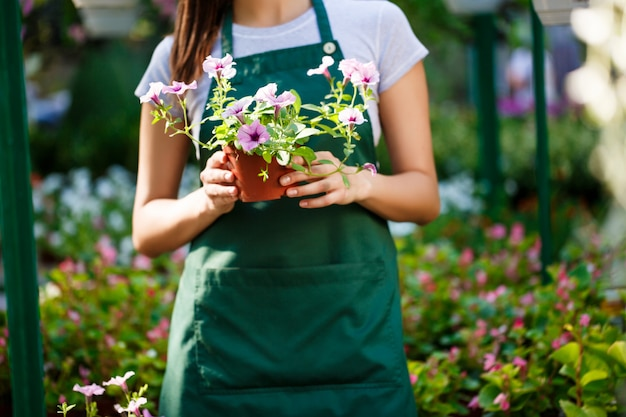 Jovem bela florista posando entre flores.