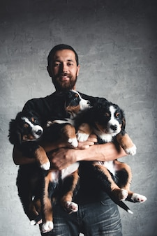 Jovem, bernese mountain dog nas mãos. close-up, foto de estúdio. conceito de cuidado, educação, treinamento e criação de animais