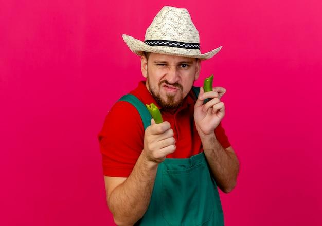 Jovem bonito e confiante jardineiro eslavo de uniforme e chapéu segurando metades de pimenta olhando