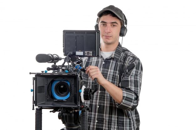 Jovem, cameraman, com, câmera filme