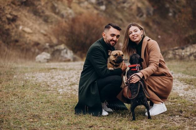 Jovem casal andando seus bulldogs franceses no parque