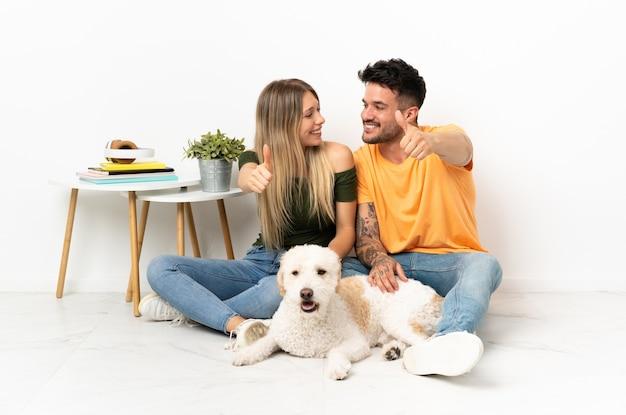 Jovem casal caucasiano com cachorro ficando em casa fazendo gesto de polegar para cima