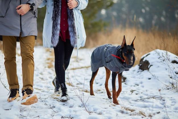 Jovem casal com cachorro doberman ao ar livre