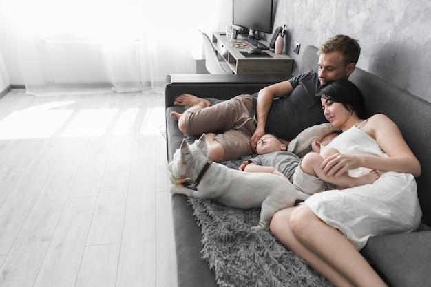 Jovem casal com seu filho e cachorro branco deitado no sofá cinza em casa