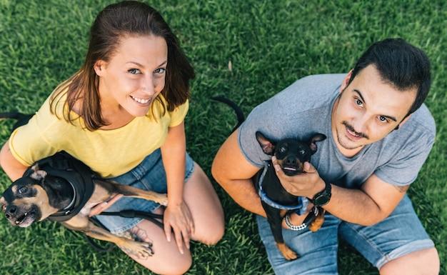 Jovem casal com seus cachorros sentados na grama e olhando para o parque. vista superior do casal sentado na grama.