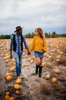 Jovem casal de agricultores caminhando em um campo de abóboras