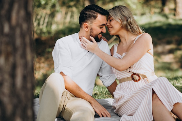 Jovem casal fazendo piquenique na floresta